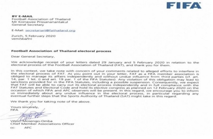 FIFA gửi cảnh báo đến FAT
