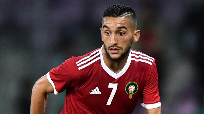 Hakim Ziyech trong màu áo tuyển Maroc